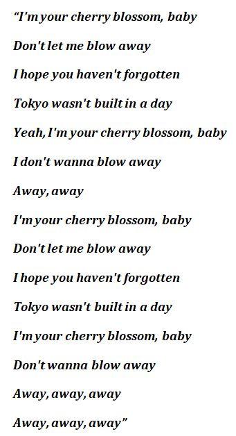 "Lyrics of ""cherry blossom"""
